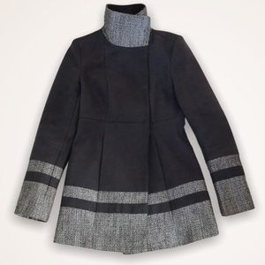 LE CHATEAU High Collar Gray 3/4 Length Coat